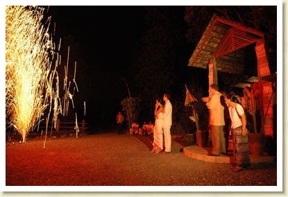 Fireworks at a Chriatian destination wedding in Thailand